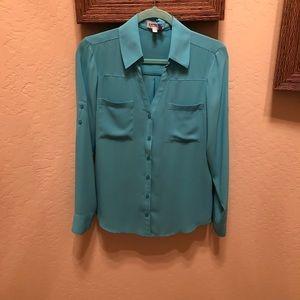 Sheer blue dress shirt